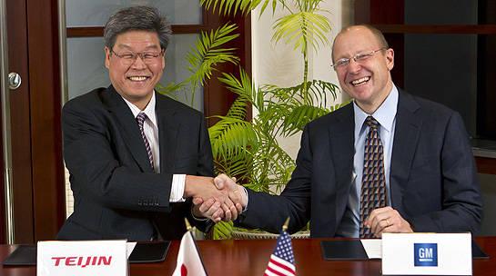 GMと帝人の契約締結の画像