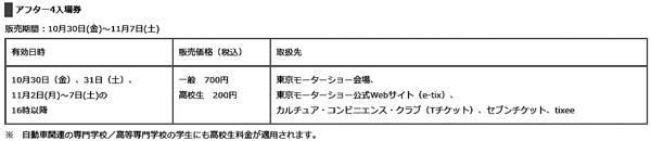 第44回 東京モーターショー2015 アフター4入場券販売概要