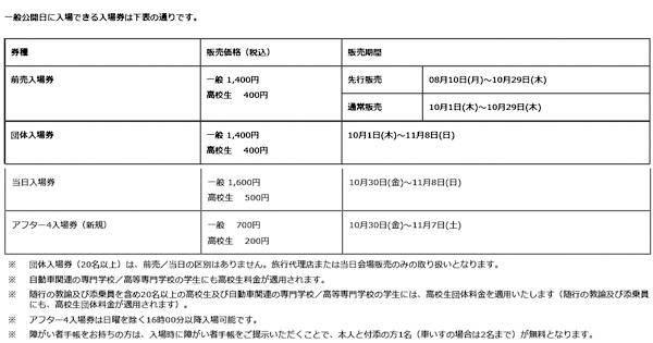 第44回 東京モーターショー2015 一般入場券販売概要