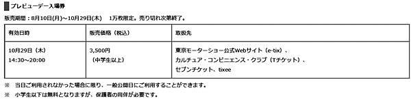 第44回 東京モーターショー2015 プレビューチケット販売