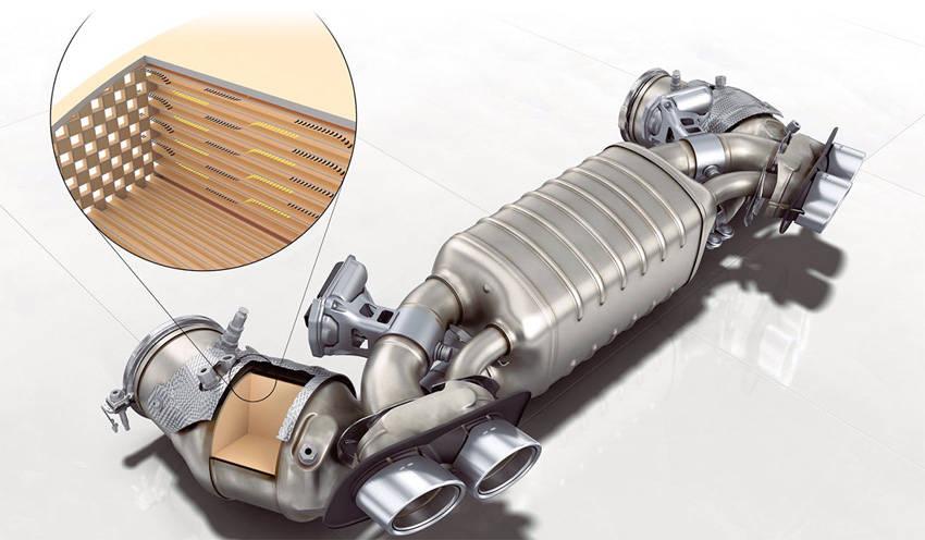 ガソリン粒子フィルター。サイレンサー部にはサウンド演出用可変フラップも装備